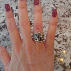 Lia Sophia Black White Rhinestone Ring Size 6